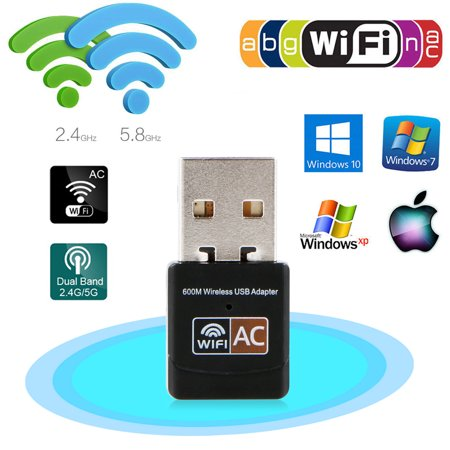 Dual Dangle - EEEKit 600Mbps Mini Dual Band 2.4/5 GHz Wireless USB WiFi Adapter LAN Network Dongle 802.11ac/a/b/g/n for Laptop Desktop PC Windows XP/7/8/10,Mac OS X System