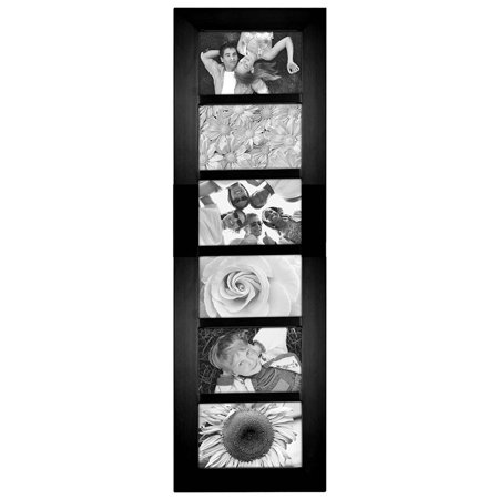 Malden Berkeley Beveled Edge Wood Collage Picture Frame, 6 Opening, 6-4x6, Black