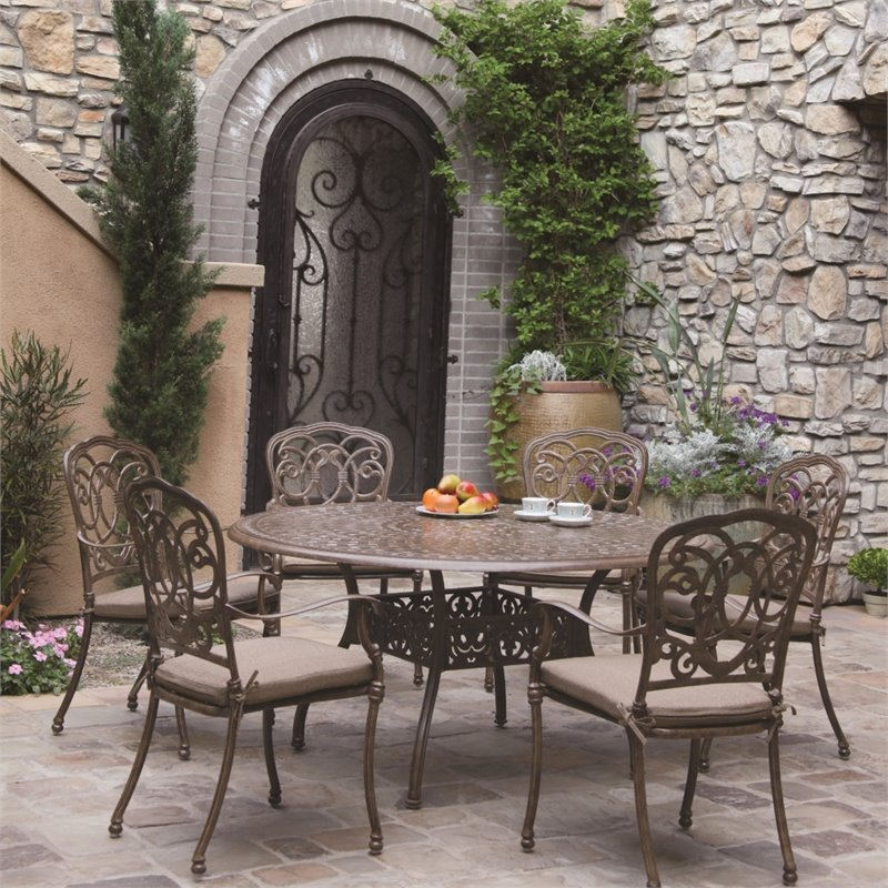 "Darlee Florence 7 Piece 59"" Round Patio Dining Set with Seat Cushion"