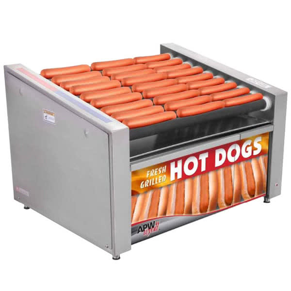 "Wyott HRS-31S Non-Stick Hot Dog Roller Grill 19 1/2""W - Slant Top by TableTop king"