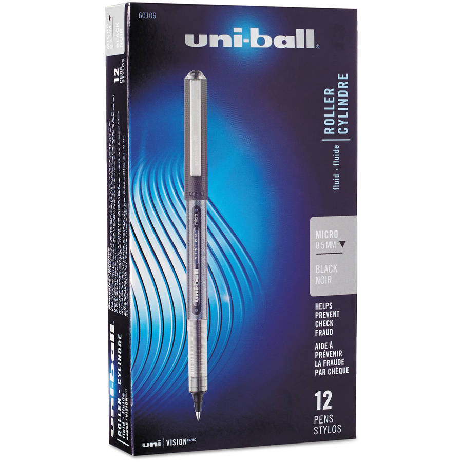 Uni-ball Vision Stick Roller Ball Pen, Micro Point, Pack of 12