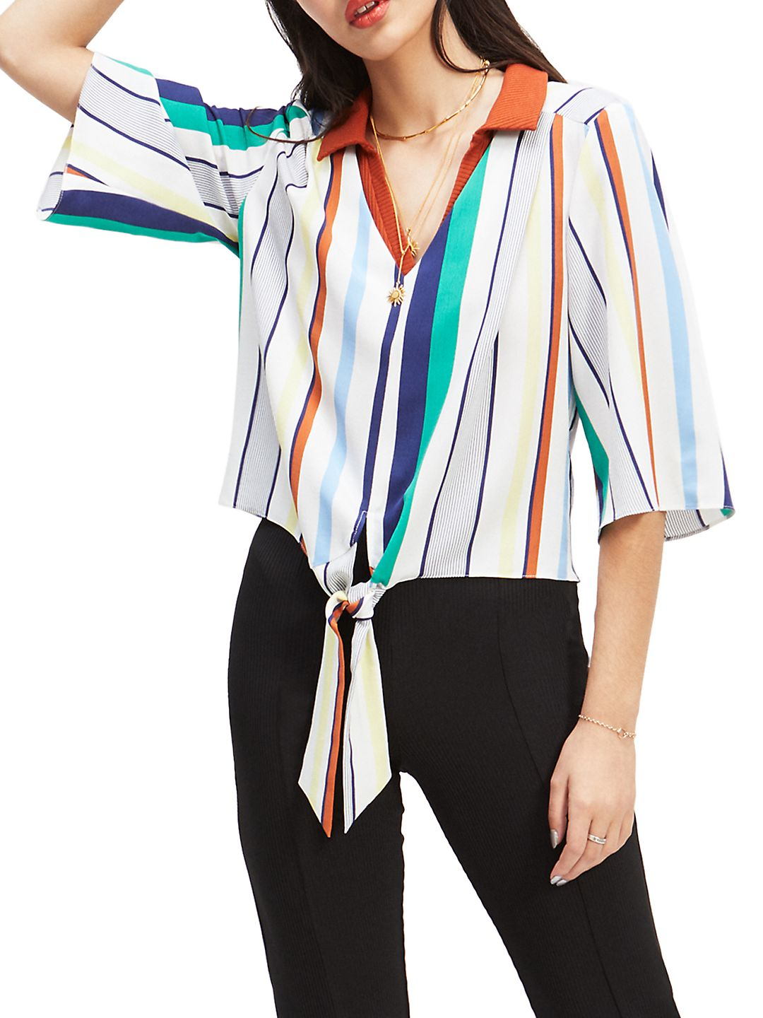Multistriped Tie-Front Top