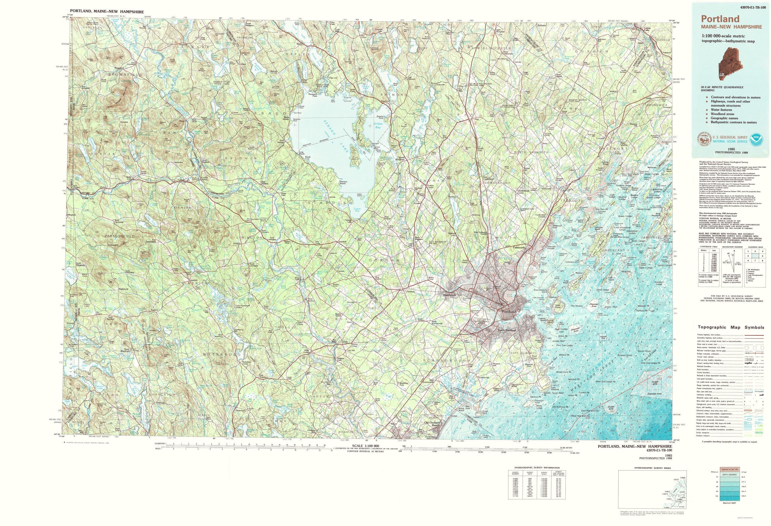 Topographical Map Print Portland Maine Usgs 1985 23 X 33 70