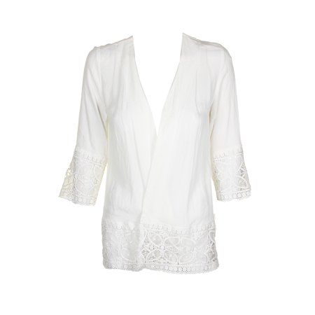 Ny Collection Ivory 3/4-Sleeve Crochet Trim Cardigan PS