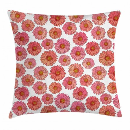 Flourish Flower Essence - Aster Throw Pillow Cushion Cover, Pink Blooms Flower Field Essence Fragrance Mother Nature Tropical Flourish, Decorative Square Accent Pillow Case, 18 X 18 Inches, Pink Coral White, by Ambesonne