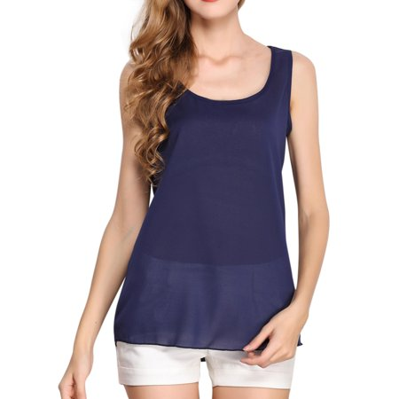 Women O-Neck Sleeveless Pure Color Vest Chiffon Tops T-Shirt Blouse