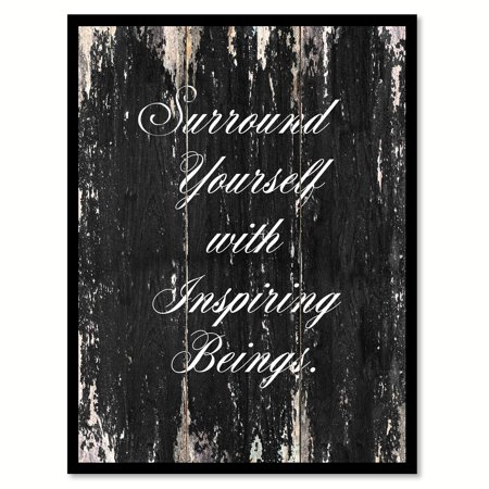 Boeing Picture (Surround Youself With Inspiring Being Inspirational Quote Saying Black Canvas Print Picture Frame Home Decor Wall Art Gift Ideas 7