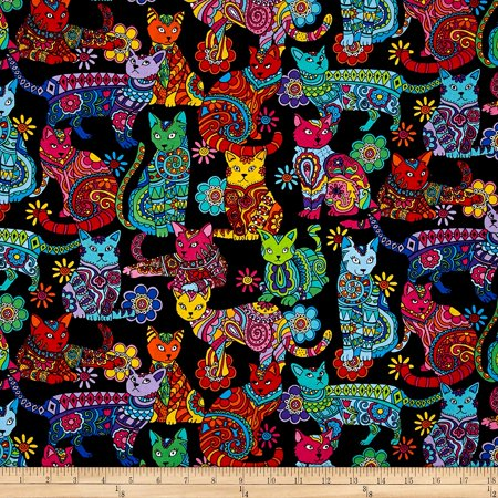 Quilting Treasures Halloween Fabric (Color Me Cat Coloring Multi Fabric By The Yard, Quilting Cotton By Timeless)