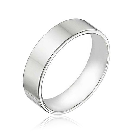 Minimalist Plain Simple 925 Sterling Silver Flat Couples Wedding Band Ring For Women For Men 6MM