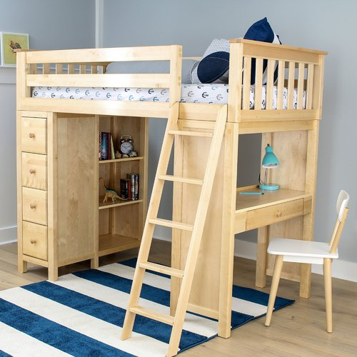 Harriet Bee Ayres Twin Loft Bed with Drawers
