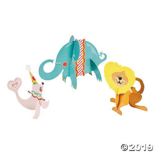 1st Birthday 3D Circus Character Centerpieces