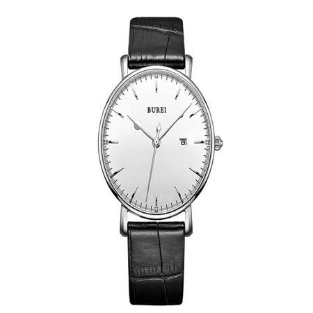 BUREI 2016 Luxury Brand Genuine Leather Quartz Men Watches Casual 30M Water-resistant Man Business Dress Wristwatch With