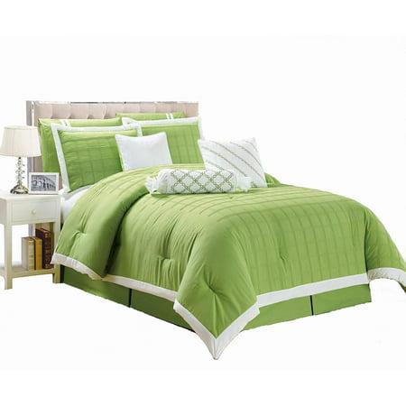 Legacy Decor 9 pc Pleated Microfiber Comforter Set, Lime ...