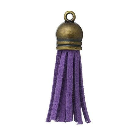 Sexy Sparkles 10 Pcs Velvet Tassel Pendants Antique Bronze 3cm X 1cm (Purple)
