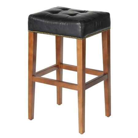 Nashville 30 Inch Barstool, Vintage Black Leather, Brass Nailhead Trim