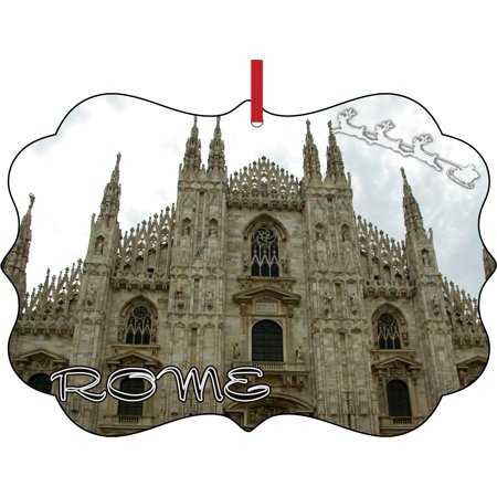 Santa Klaus and Sleigh Riding Over the Milan Cathedral Duomo Italy Elegant Aluminum Semigloss Christmas Ornament Tree Decoration - Unique Modern Novelty Tree Décor Favors