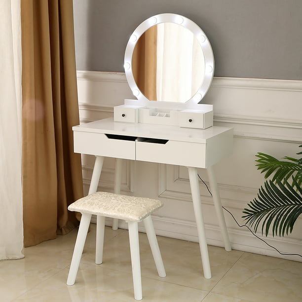 Ktaxon Vanity Set With Round Lighted, Vanity Table Set With Lighted Mirror Stool