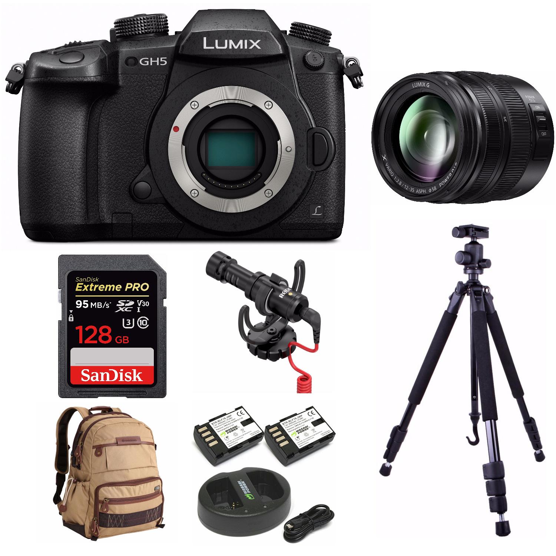Panasonic LUMIX GH5 4K Camera w/ 12-35mm Lens + RODE VideoMicro + Tripod + 128GB Card + Accessory Bundle