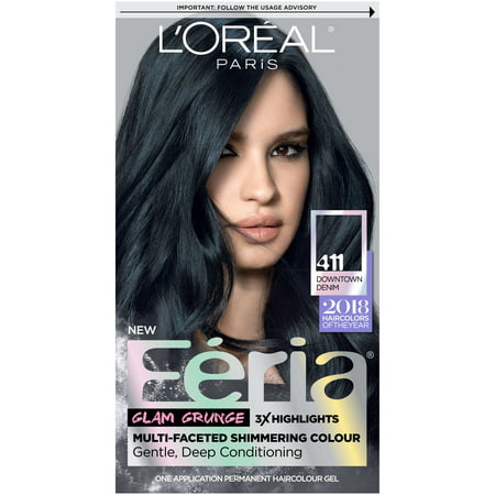 Teal Blue Color (L'Oreal Paris Feria Multi-Faceted Shimmering Permanent Hair Color, 411 Downtown Denim, 1)