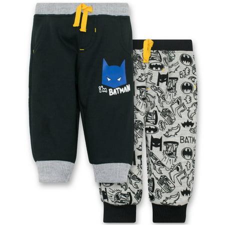 Batman Baby Boys' 2 Pack Fleece Drawstring Jogger Pants, Black and Grey 6-9 Months