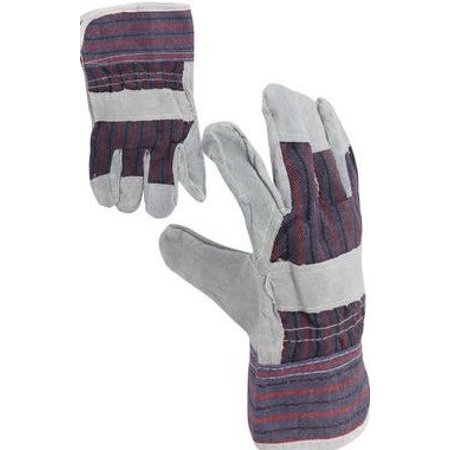 Construction Equipment - 2 Pair - LEATHER PALM GREY COLOR (Large), Use for construction jobs, equipment operation and general purpose By Work Gloves