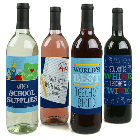 Funny Halloween Wine Labels (Funny Colorful - Teacher Appreciation Back To School Party Decorations for Women and Men - Wine Bottle Label Stickers)