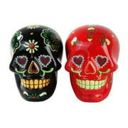 1 X Day of Dead Sugar Black & Red Skulls Salt & Pepper Shakers Set- Skulls Collection