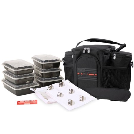 Meal Prep Insulated Lunch Bag - Isobag 3 Meal Thin Red Line - 4 Fully Insulated Compartment Meal Management System - Includes 6 Reusable BPA-free Containers, 2 Ice Packs & Padded Shoulder Strap 3 Meal ()