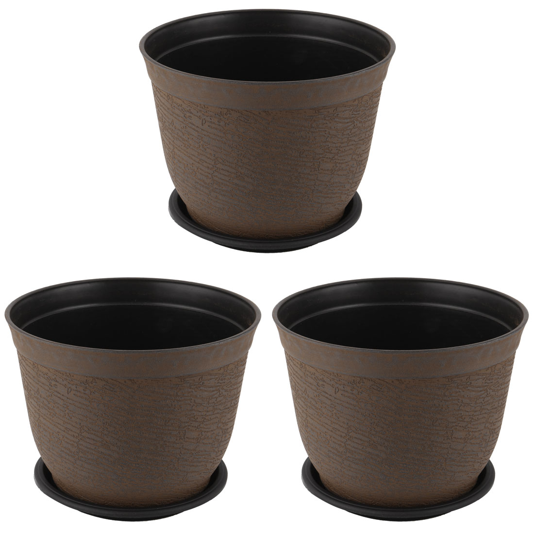 Balcony Plastic Round Flower Plant Cactus Pot Tray Holder Container Brown 3pcs