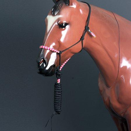 Classic Nylon Halters - CLASSIC EQUINE HORSE TWO TONE  NYLON HALTER FUCHSIA LIME