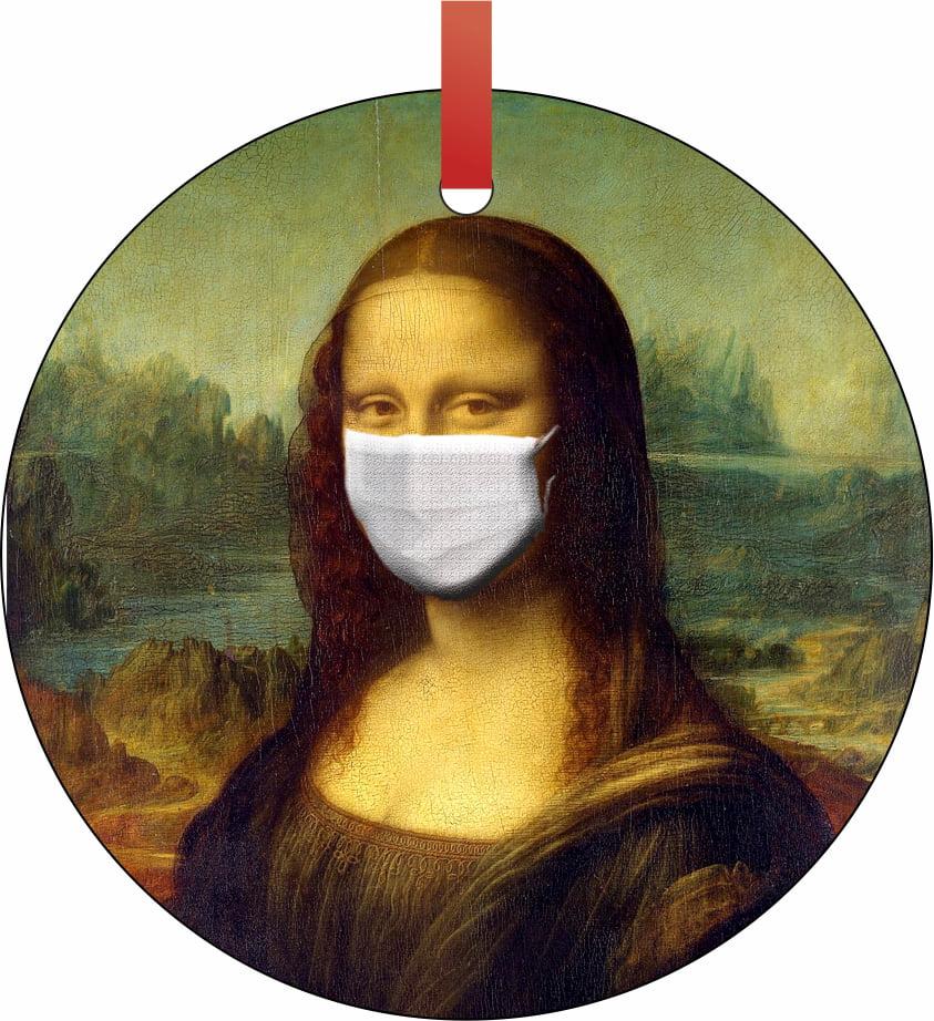 Mona Lisa Ornament Funny Covid Ornament 2020 Mona Lisa Face Mask Handmade Christmas Ornament Decor Walmart Com Walmart Com