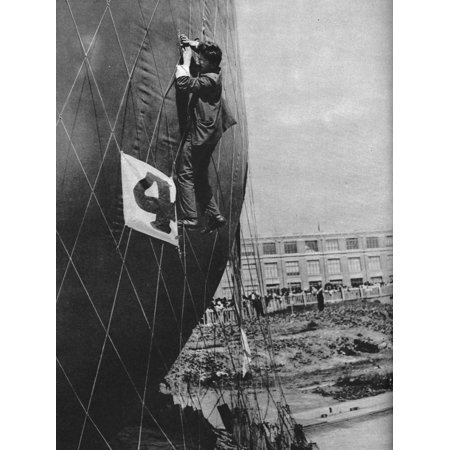 Making adjustments to the net of a balloon before attaching the basket, c1935 (c1937) Print Wall