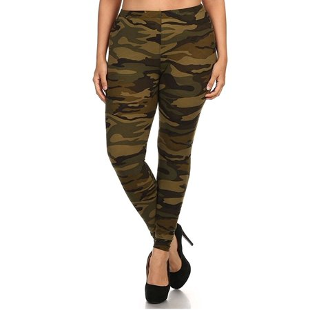 DAVIDO Womens Original Plus size ARMY green Camo Camouflage SOFT Leggings One Size Fits All - Fits 1X - 3X](Glow In The Dark Skeleton Leggings)