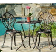 3-Pc Outdoor Bistro Furniture Set in Brown