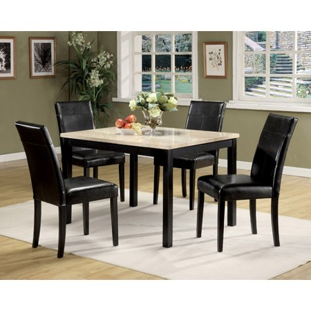 ACME Portland 5 Piece Pack Dining Set Brown Faux Marble Cherry Walma