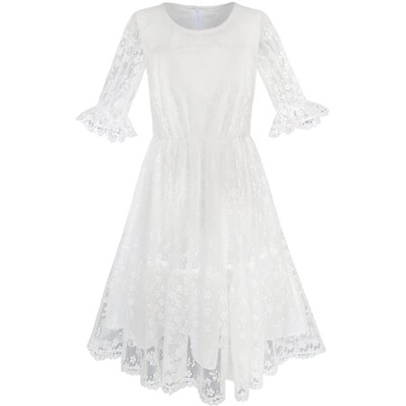 Flower Girls Dress Off White Lace Wedding Pageant Party 5
