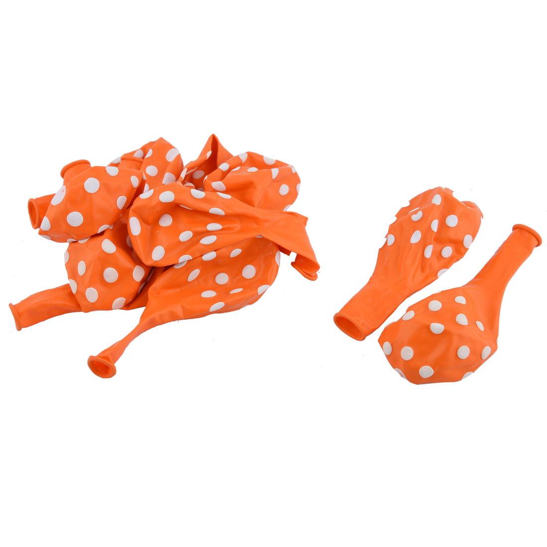 Unique Bargains Wedding Latex Dot Pattern Decor Round Balloons Orange 12 Inches 10 Pcs