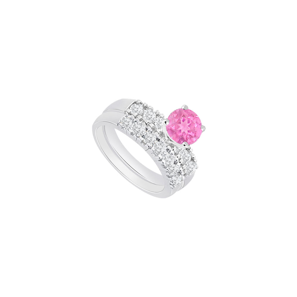 14K White Gold Created Pink Sapphire and Cubic Zirconia Engagement Ring with Wedding Band Set 1. by Love Bright