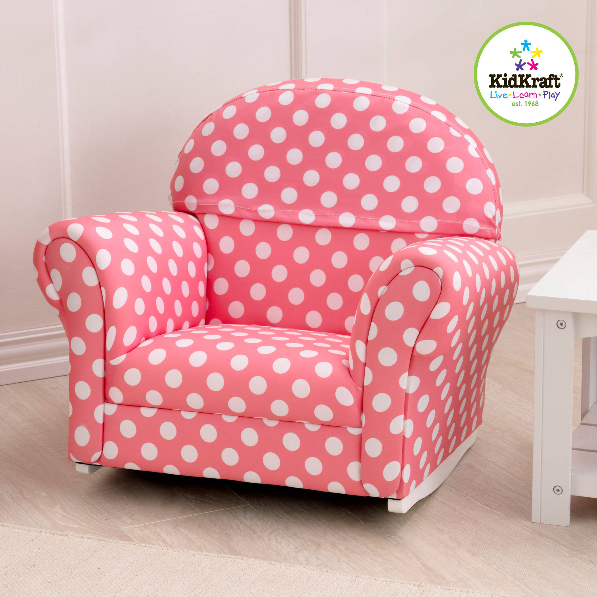 KidKraft Upholstered Rocker, Pink with Polka Dots