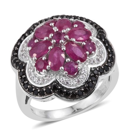- 925 Sterling Silver Ruby Platinum Plated June Birthstone Anniversary Ring 3.4 Cttw