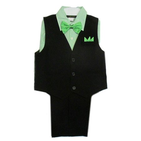 c848805c2 Rafael - Rafael Baby Boys Black Green Stripe Shirt Vest Pants Bowtie ...