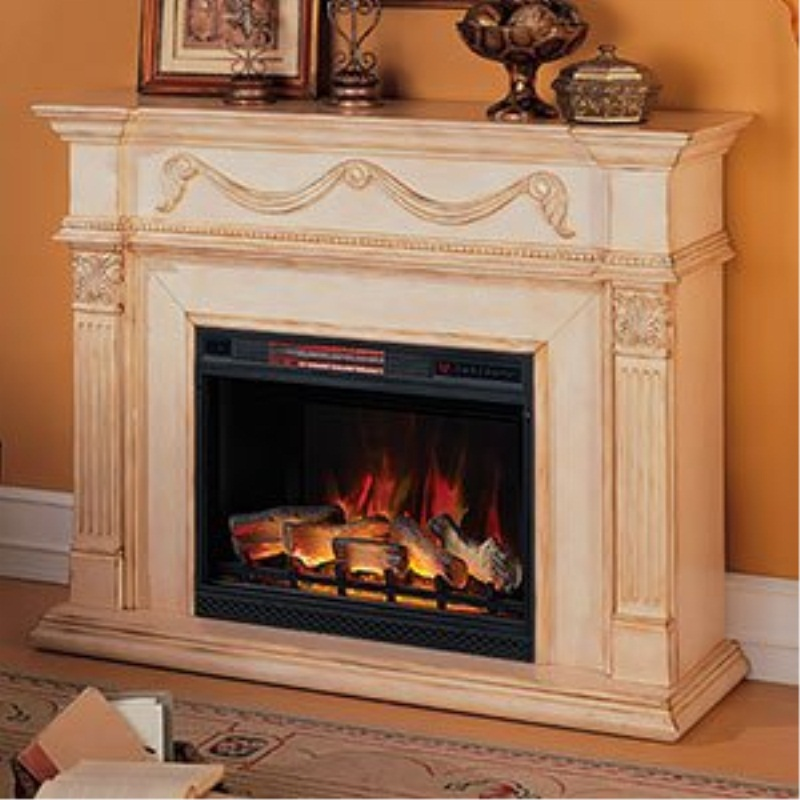 Classic Flame 28WM184-T408 Gossamer Wall Fireplace Mantel, Antique Ivory (Electric Fireplace Insert sold separately)