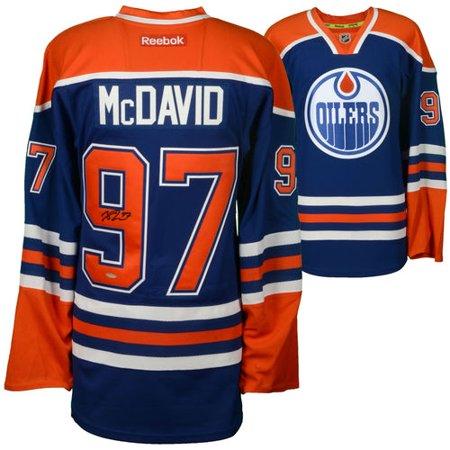 be004314a Connor McDavid Edmonton Oilers Autographed Blue Reebok Edge Jersey - Upper  Deck