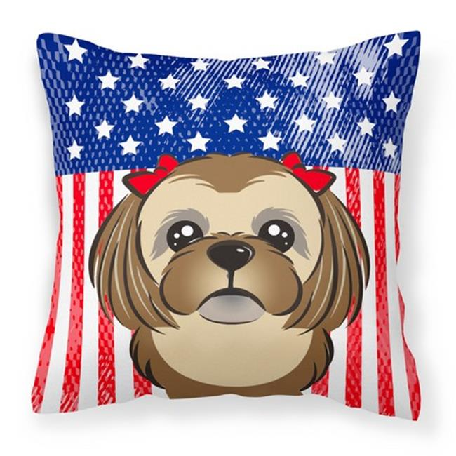 Carolines Treasures BB40PW40 American Flag Chocolate Brown Beauteous Shih Tzu Decorative Pillows