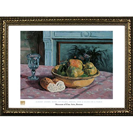 FRAMED Bowl Of Pears Bread And A Glass On A Table by Albert Andre 24x32 Art Print Poster Famous Painting Still Life Fruit Bowl Bread Wine Glass From Museum of Fine Arts Boston Collection