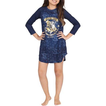 Harry Potter 'Hogwarts Gold Crest' Navy Raglan Nightgown (Little Girls & Big Girls) - Hogwarts Robe
