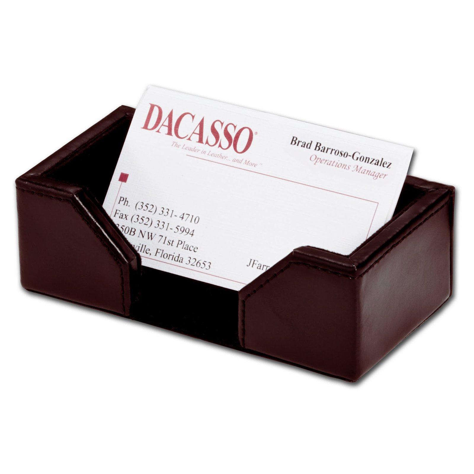 Dacasso Bonded Leather Business Card Holder - Dark Brown
