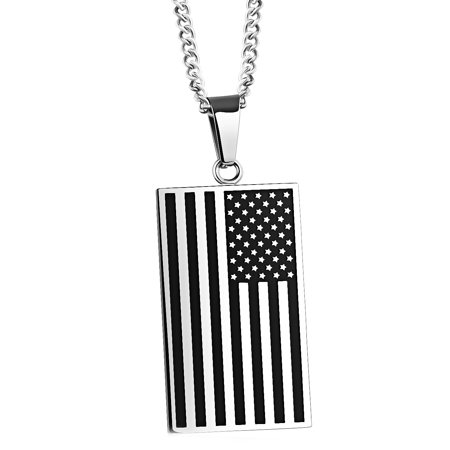 Usa Flag Pendant (Men's Stainless Steel American Flag USA Pendant Necklace )