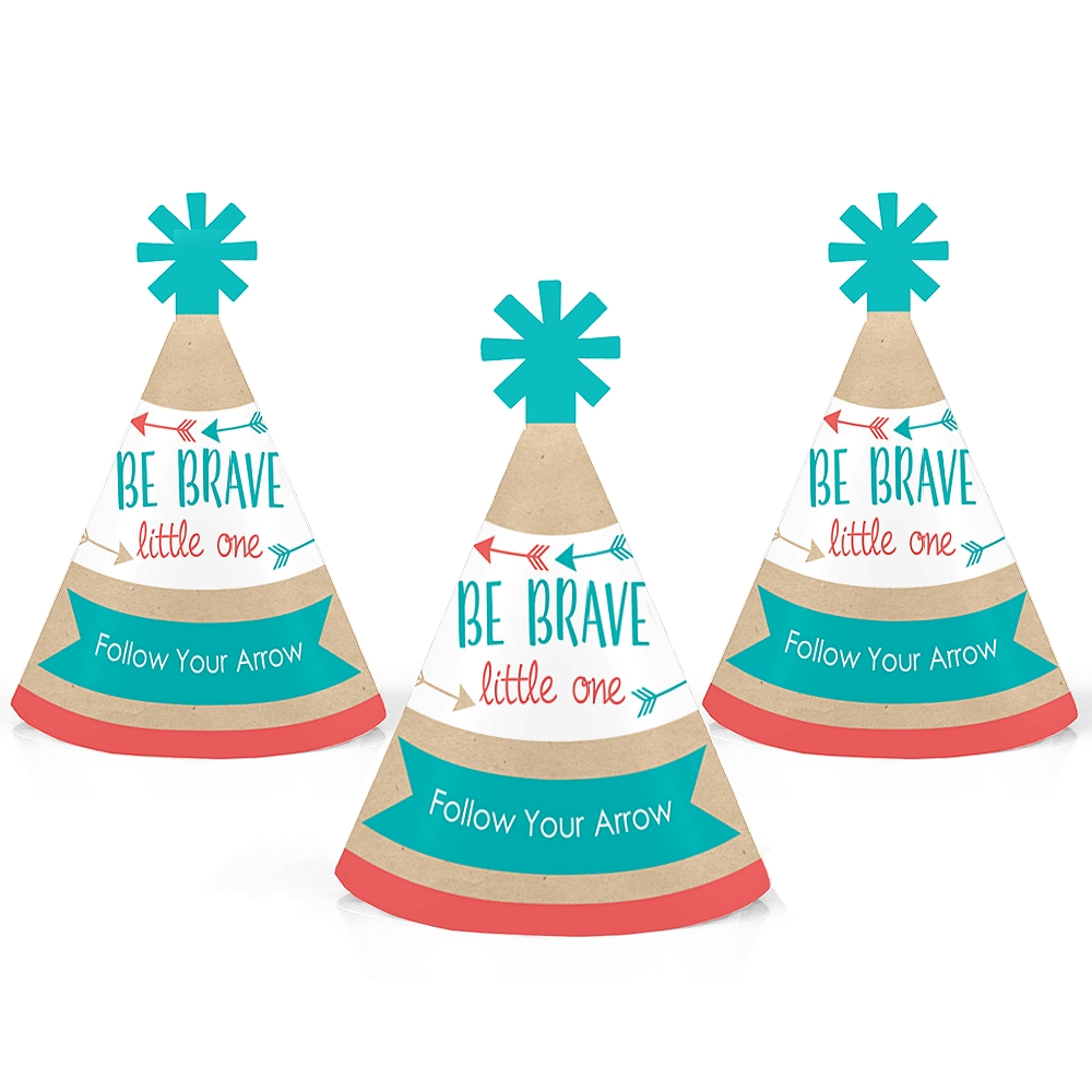 Be Brave Little One - Boho Tribal Mini Cone Baby Shower or Birthday Party Hats - Small Little Party Hats - Set of 10