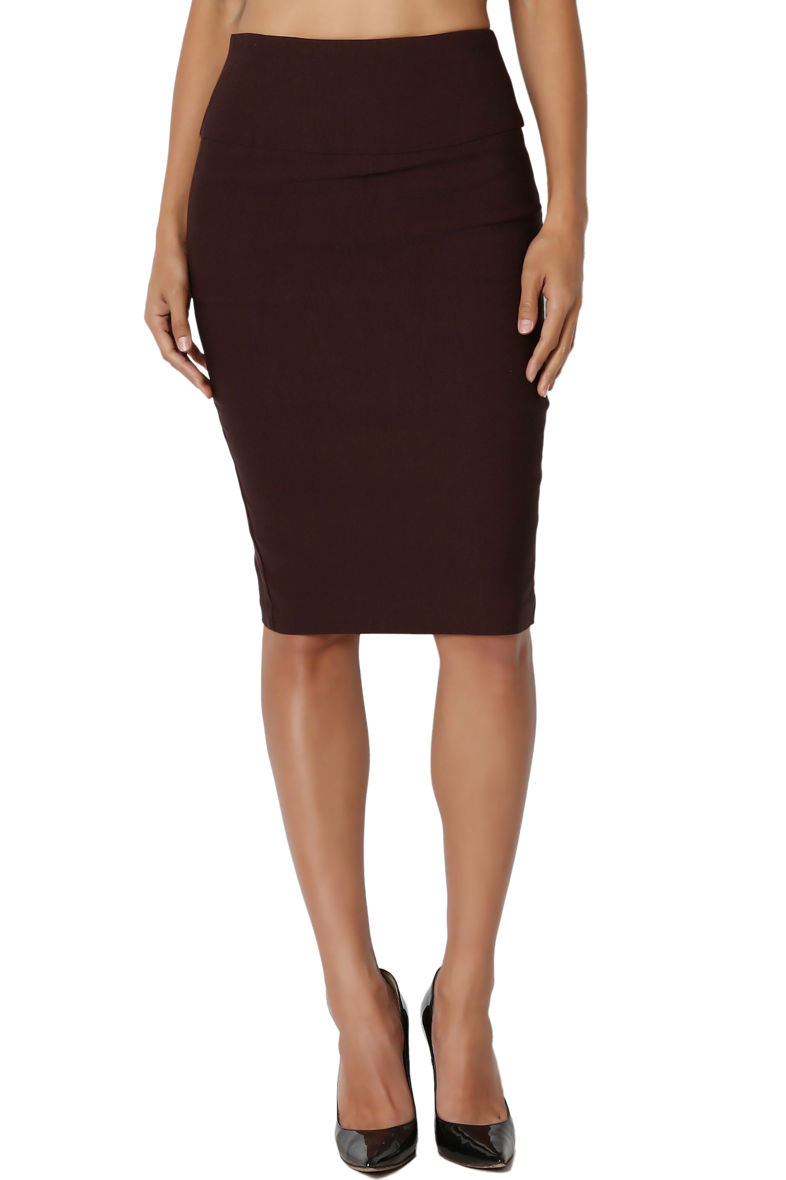 TheMogan Junior's S~3X High Waist Stretch Woven Casual to Formal Pencil Midi Skirt